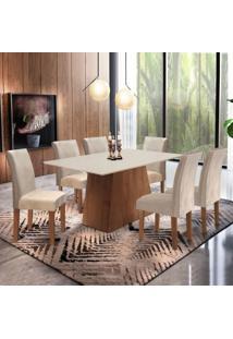 Conjunto Sala De Jantar Mesa Tampo Mdf Arezo 6 Cadeiras Espanha Siena Móveis Chocolate