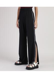 Calça Feminina Pantalona Cintura Alta Fenda Lateral Preta