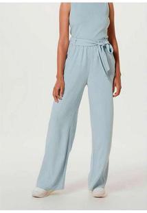 Calça Feminina Wide Leg Em Tecido De Viscose Azul