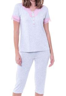 Pijama Feminino Curto Podiun 225042 Mescla-Branco
