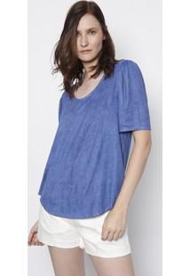 Blusa Em Camurça Com Franzidos- Azul- Maria Valentinmaria Valentina