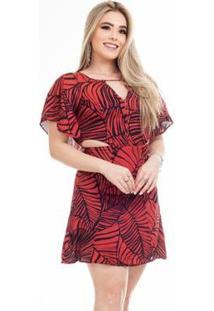 Vestido Clara Arruda Curto Detalhe Feminino - Feminino-Vermelho Escuro