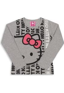 Blusa Bebê Manga Longa Cotton Hello Kitty Feminina - Feminino-Cinza