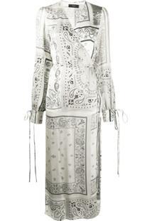 Amiri Vestido Envelope Com Estampa Paisley - Cinza