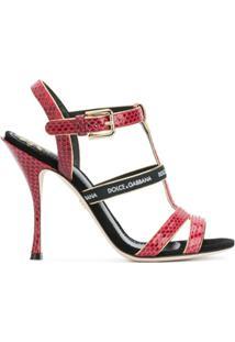 Dolce & Gabbana Sandália De Couro - Vermelho
