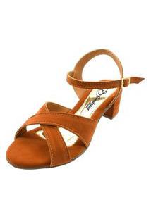 Sandália Romântica Calçados Salto Grosso Caramelo