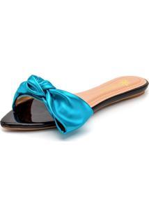 Sandália Rasteira Em Verniz Preto Com Azul Serenity Metalizado