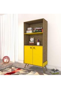 Armário Para Escritório 2 Portas Virgínia Retrô Siena Móveis Imbuia Rustic/Amarelo
