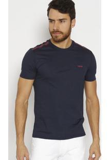 Camiseta Slim Fit Com Recortes - Azul Marinho & Bordã´Calvin Klein