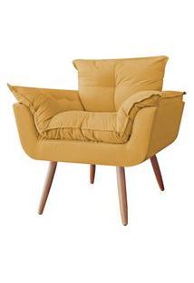 Poltrona Decorativa Opalla Pés Palito Suede Amarelo Mostarda - Ds Estofados