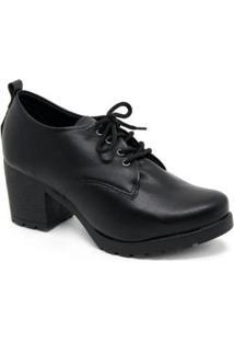 Sapato Oxford Tratorado Salto Sua Cia 8166.12913 Feminino - Feminino-Preto