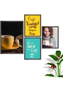 Kit Conjunto 4 Quadro Oppen House S Frases Com Café Quente Sempre Bom Lojas Cafeteria Xícaras Grãos Moldura Preta Decorativo Interiores Sem Vidro