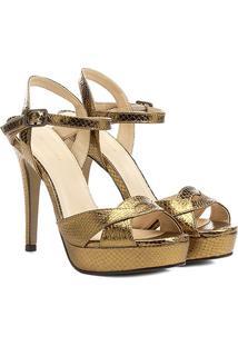 Sandália Couro Shoestock Meia Pata Metalizada Feminina - Feminino-Bronze