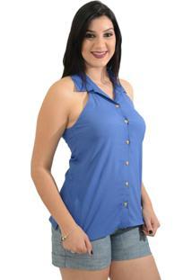 Camisa Moché Manhattan - Feminino-Azul Royal
