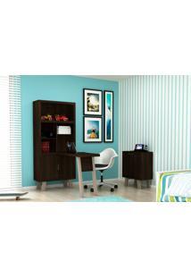 Home Office 2 Peças Tecno Mobili: 1 Armário Com Escrivaninha E 1 Balcão - Tabaco/Fendi - Multistock