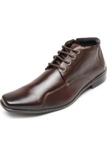 Sapato Couro Ferracini Recortes Marrom