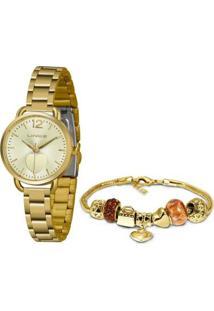 Kit Relógio Lince Funny Analógico + Pulseira Feminino - Feminino-Dourado