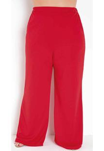 Calça Vermelha Pantalona Plus Size