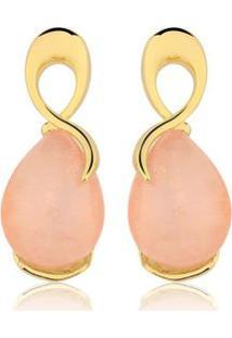 Brinco Toque De Joia Laçado Quartzo Rosa - Feminino-Dourado