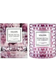 Vela Rose Petal Ice Cream Roses Collection Redoma Texturizada Geométrica 3D 55 Horas Voluspa