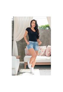 Shorts Curto Almaria Plus Size Shyros Pregas Jeans Azul