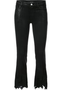 J Brand Calça Jeans Cropped Com Renda - Preto