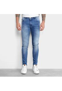 Calça Jeans Skinny Gangster Estonada Elastano Used Masculina - Masculino