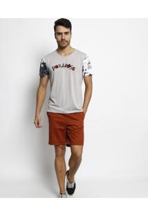 "Camiseta ""Paradise""- Cinza Claro & Preta- Coca-Colacoca-Cola"
