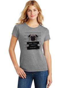 Camiseta Pets Bad Dog Pug Feminina - Feminino-Cinza