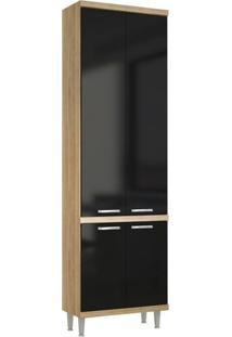 Paneleiro Duplo 4 Portas 5121 Sem Vidro Na Cor Argila/Preto Texturizado - Multimoveis