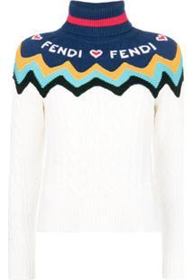 Fendi Suéter Com Logo - Branco