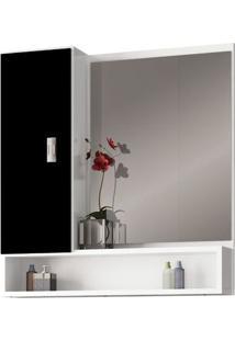 Espelheira Para Banheiro 60Cm Mdf Orquídea Preta 55,5X60X13,5Cm - Cozimax - Cozimax