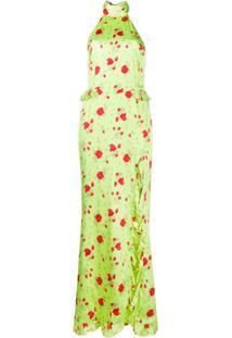 De La Vali Vestido Frente Única Floral - Verde