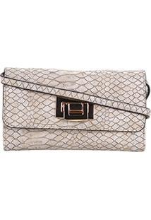 Bolsa Wj Mini Bag Crossbody Croco Feminina - Feminino-Bege