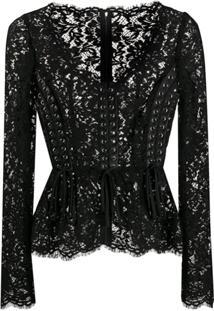 Dolce & Gabbana Blusa Com Renda Floral - Preto