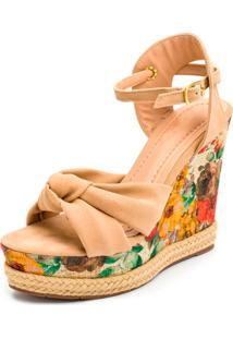 Sandã¡Lia Anabela Salto Alto Em Nobucado Com Floral Bege - Multicolorido - Feminino - Dafiti