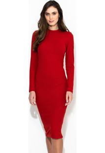 Vestido Midi Canelado Vermelho