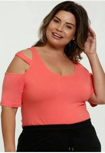 Blusa Feminina Open Shoulder Strappy Plus Size
