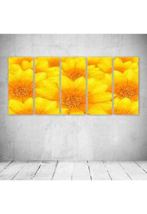 Quadro Decorativo - Yellow Flowers - Composto De 5 Quadros - Multicolorido - Dafiti