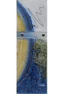Quadro Artesanal Com Textura Abstrato Azul 20X60Cm Uniart
