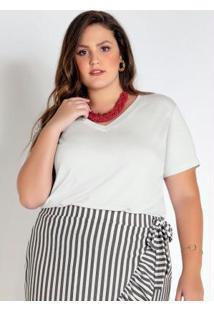 T-Shirt Plus Size Branca Básica Com Decote V