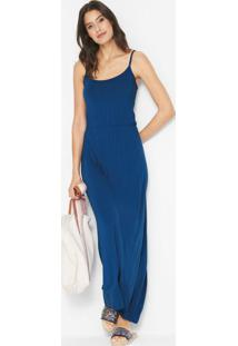 Vestido Longo De Alcinhas Azul Marinho