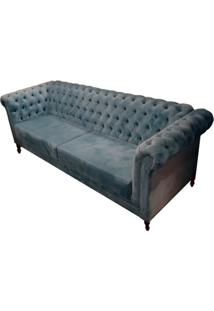 Sofa Chesterfield Assento Veludo Azul Base Madeira Imbuia - 33000 - Sun House