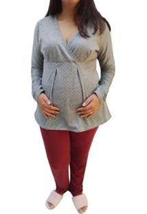 Conjunto De Pijama Longo Linda Gestante Maternidade E Amamentação Poá Feminino - Feminino-Bordô+Cinza