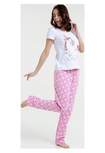 Pijama Feminino Estampa Unicórnio Tapa Olhos Marisa
