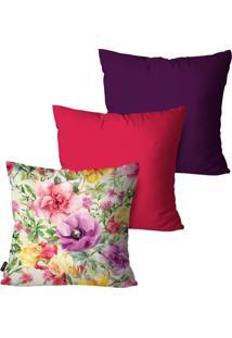 Kit Com 3 Capas Para Almofadas Pump Up Decorativas Rosa Flores 45X45Cm