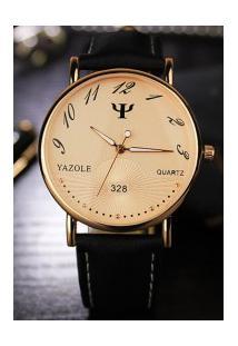 Relógio Feminino Yazole 328 - Preto Com Dourado