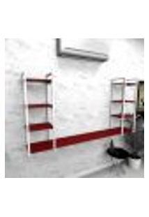 Estante Industrial Escritório Aço Cor Branco 180X30X98Cm Cxlxa Cor Mdf Vermelho Modelo Ind53Vres