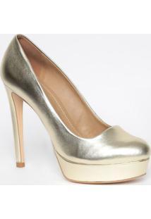 Sapato Meia Pata Em Couro Metalizado- Dourado- Saltomya Haas
