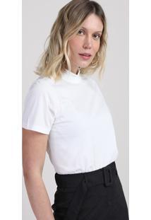 Blusa Feminina Ampla Manga Curta Gola Alta Off White